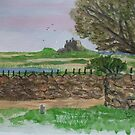 LINDISFARNE CASTLE, WATERCOLOUR by GEORGE SANDERSON