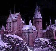 Hogwarts castle with winter snow by miradorpictures
