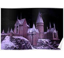 Hogwarts castle with winter snow Poster