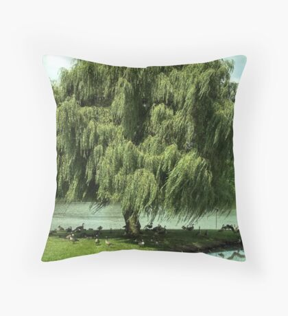 Sunday Social Under the Willow Throw Pillow