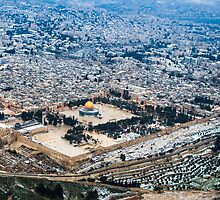Aerial view of the Dome of the Rock, Temple Mount Old City, Jerusalem by PhotoStock-Isra