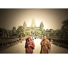 monks and angkor wat  Photographic Print