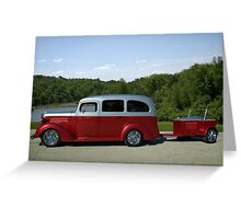 1937 Chevrolet Suburban with Trailer Greeting Card