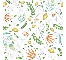 Floral white pattern Photographic Print