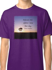 Lonely tree silhouette on open field at sunset  Classic T-Shirt