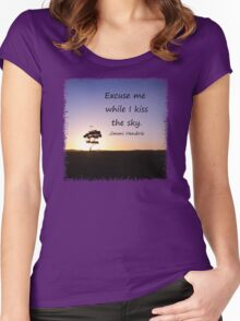 Lonely tree silhouette on open field at sunset  Women's Fitted Scoop T-Shirt