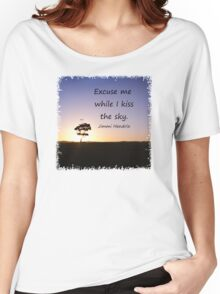 Lonely tree silhouette on open field at sunset  Women's Relaxed Fit T-Shirt