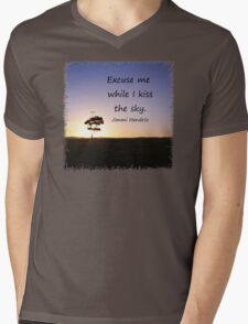Lonely tree silhouette on open field at sunset  Mens V-Neck T-Shirt