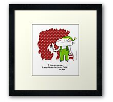 'I like nonsense... Dr.Seuss quote / Cat doodle Framed Print