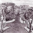 Memories of Odessa City black and white pen ink drawing  by Vitaliy Gonikman