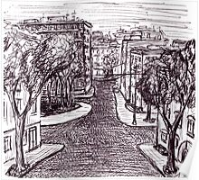 Memories of Odessa City black and white pen ink drawing  Poster