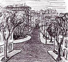 Memories of Odessa City black and white pen ink drawing  Photographic Print