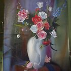 Still Life of White Vase and Flowers (copywork) by life4paint