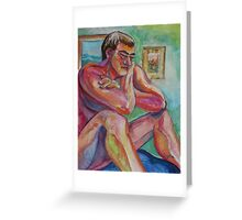 Seated Male Nude Figure (Acrylics)- Greeting Card