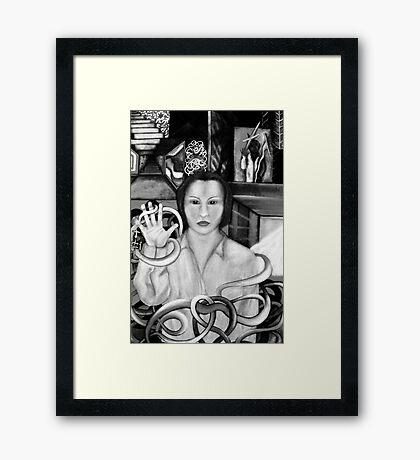 confusion b&w Framed Print