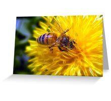 Bee on fractal Dandelion Greeting Card
