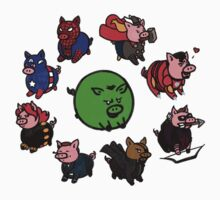 Pig Avengers by mistina