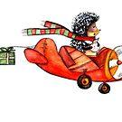 """Hedgehog on an airplane: """"Trust me i'm a pilot"""" by Marikohandemade"""