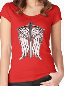 Angel Wings and Crossbow (Clean) Women's Fitted Scoop T-Shirt