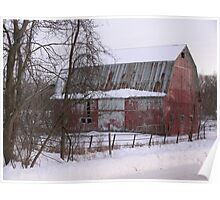 Barn covered in snow Poster