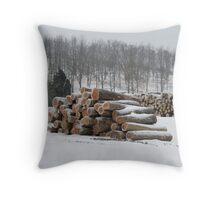 Snow Lumber Throw Pillow