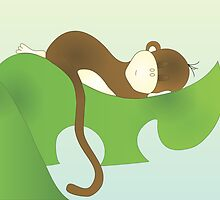Sleeping Baby Moneky, too! by trennea