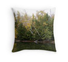 Fishing under the Birch Throw Pillow