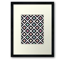 Modern Trendy Geometric Patter in Fresh Vintage Coffee Style Colors Framed Print