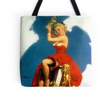 Christmas Mistletoe Gil Elvgren Pinup Tote Bag