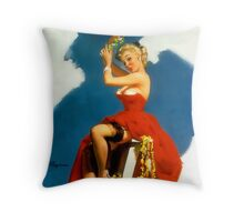 Christmas Mistletoe Gil Elvgren Pinup Throw Pillow