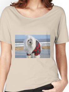 Snowdrop the Maltese - The Beach in Winter Women's Relaxed Fit T-Shirt