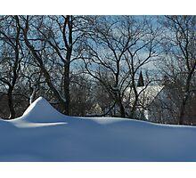 Snow & Church Steeples Photographic Print