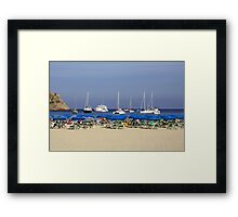 Yachts and Beach Umbrellas Framed Print