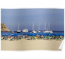 Yachts and Beach Umbrellas Poster