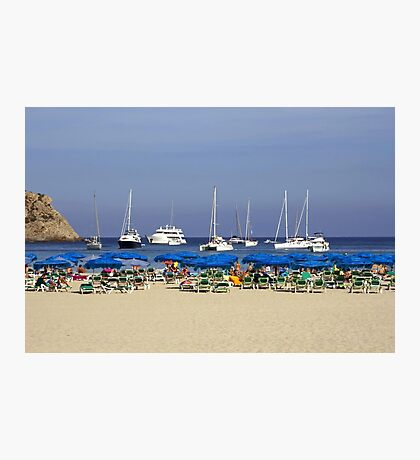 Yachts and Beach Umbrellas Photographic Print