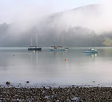 Boats in the mist by Duncan Drummond