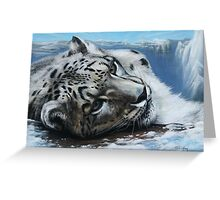 Snow Leopard on top of the world. Greeting Card