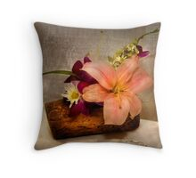 Lilium Speciosum on a log Throw Pillow