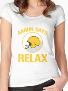 Aaron Says Relax - Green Bay Women's Fitted Scoop T-Shirt