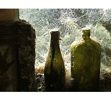 Old Green Bottles on the wall - Mitchells Gully - New Zealand Photographic Print