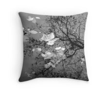 Paper Leaves in grey Throw Pillow