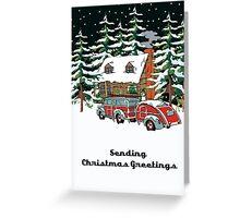 Sending Christmas Greetings Winter Cabin With Woodie Greeting Card