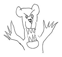 Scary Bear Doodle Photographic Print