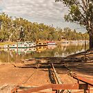 Slipway to the Murray River Echuca Australia by Pauline Tims
