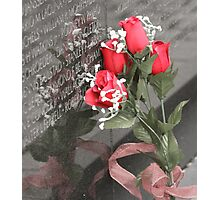 Roses left at the Wall Photographic Print