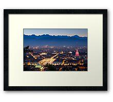 Turin (Torino), panorama at night Framed Print