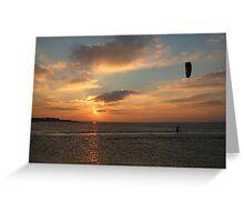 Kitesurfing in the sunset Greeting Card