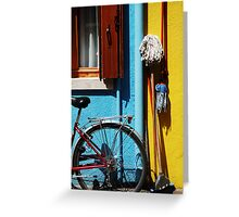 belongings being bicycles brooms and brushes  Greeting Card