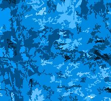 Blue Abstract Camo Design Camouflage Pattern by Adri Turner