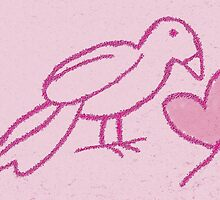 Sweetheart pink bird card by thepatternroom